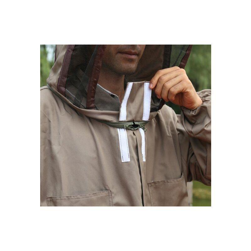 Thsinde - Équipement de protection d'apiculteur avec voile combinaison à capuche anti-abeille professionnelle vêtement de protection complet coton à