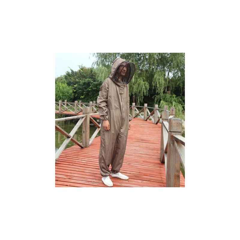 Thsinde - Équipement de protection d'apiculteur avec voile combinaison professionnelle à capuche anti-abeilles vêtements de protection complets coton