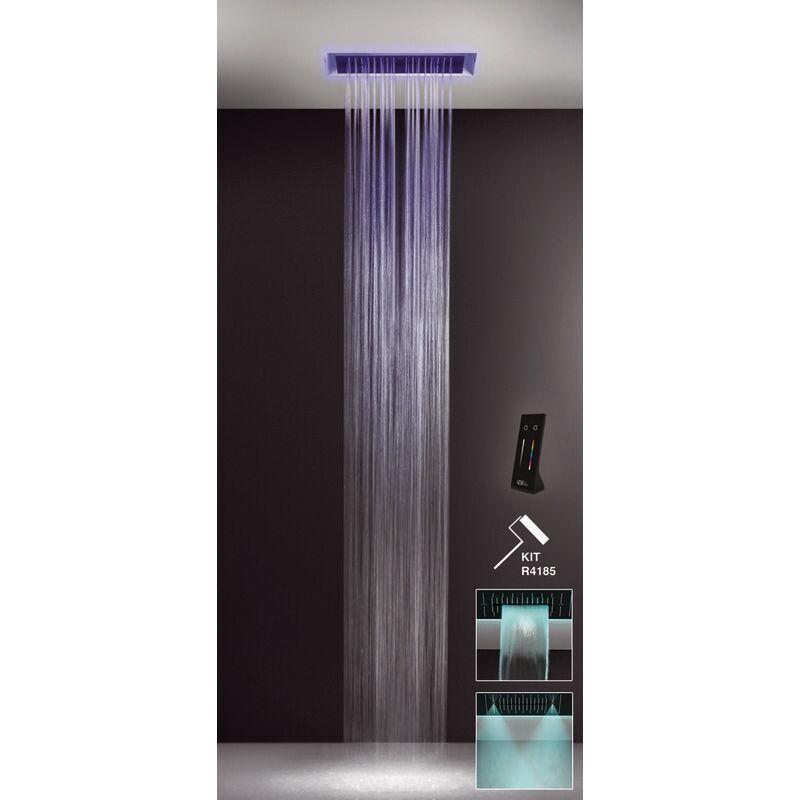 GESSI Afilo, système de douche intégré multifonctionnel 300x500 types de jets : pluie, surtension, brume avec effet de luminothérapie, 57411279 - 57411279