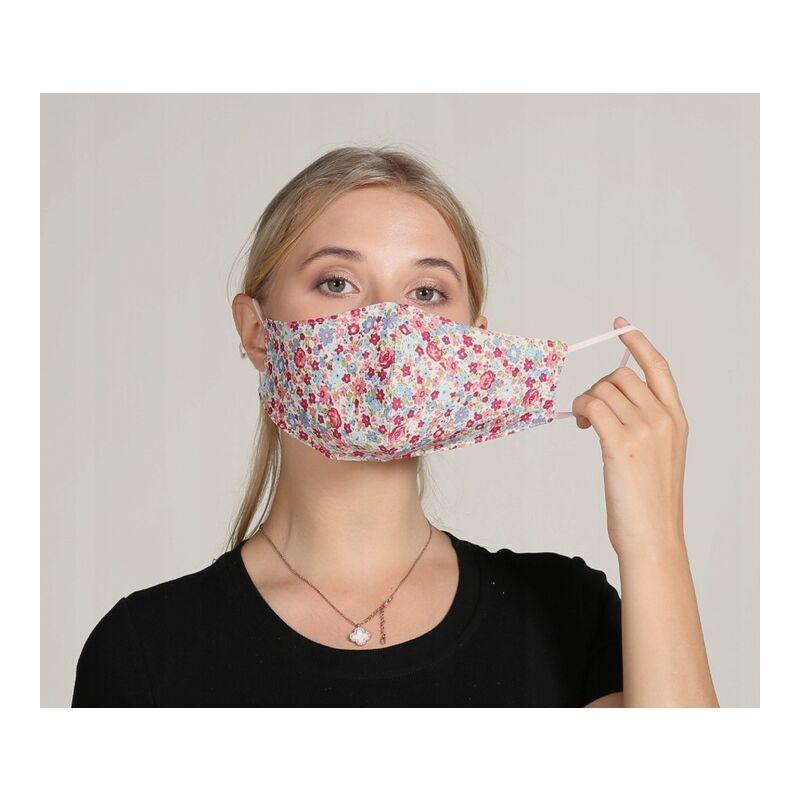 ILoveMilan Le tissu de masque pour adulte est lavable, réutilisable, réglable, avec sac filtrant (fleur de 10pac rouge clair)