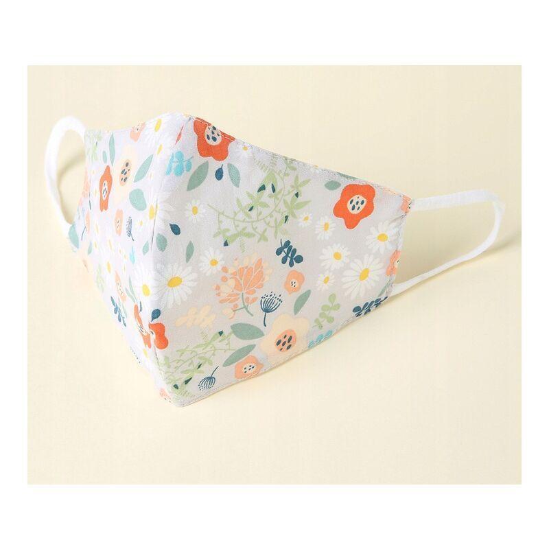 ILoveMilan Le tissu de masque pour adulte peut être lavé, réutilisable et réglable, avec un sac filtrant (blanc de fleur 10pac)