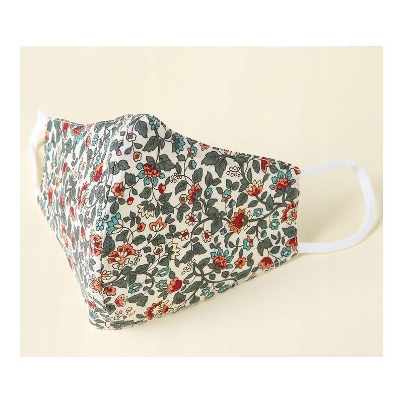 ILoveMilan Le tissu du masque pour adulte est lavable, réutilisable et ajustable avec un sac filtrant (10pac, Fleur verte)