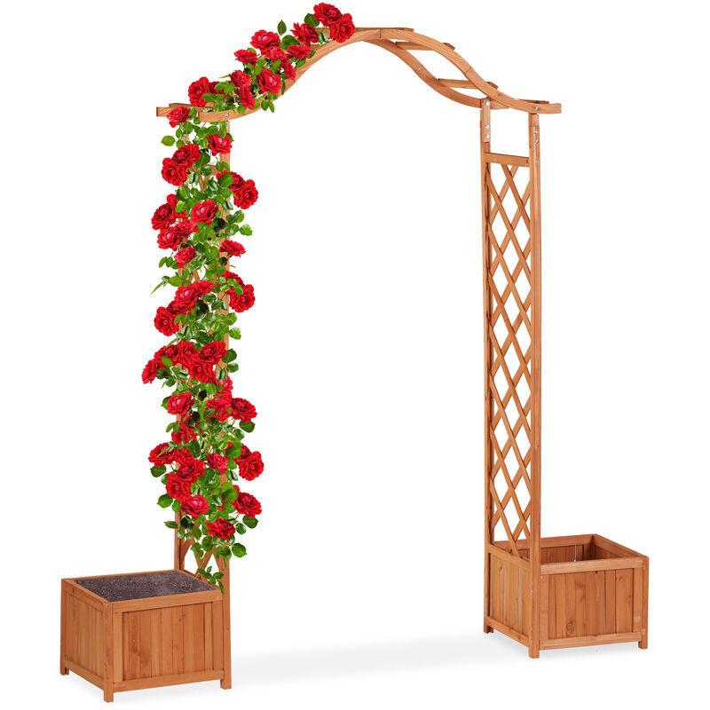 RELAXDAYS Jardinière pergola, Bac fleurs, Treillis plante grimpante bois 2 bacs à fleurs, 209 x 181 x 60 cm, orange
