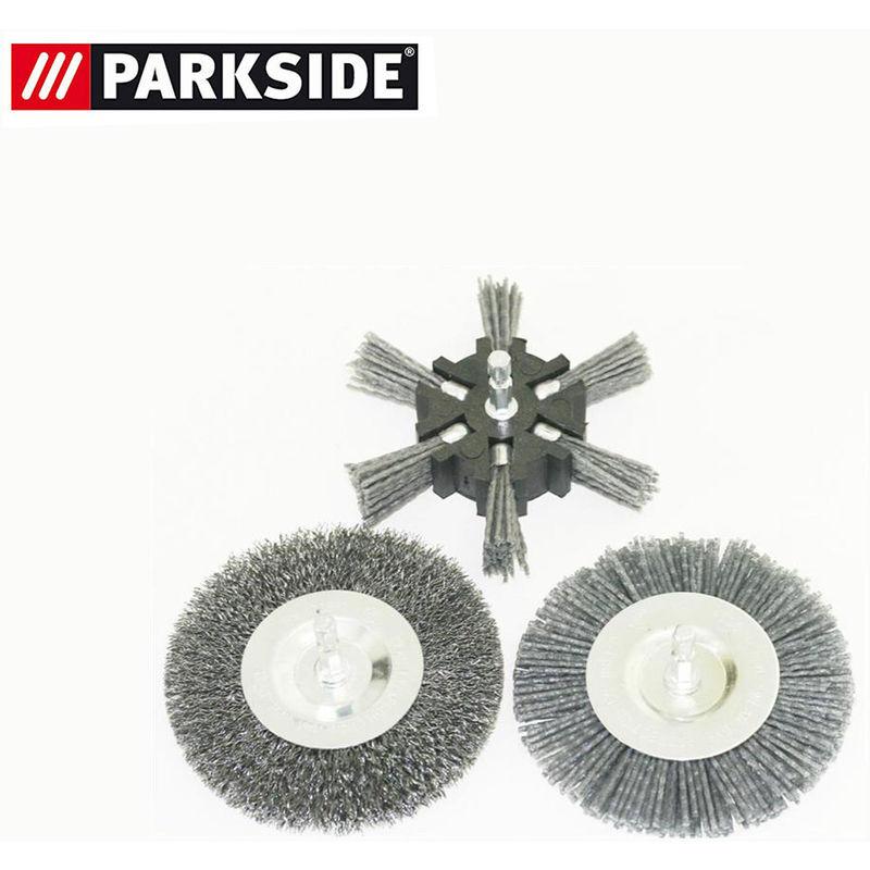 Grizzly Tools - Jeu de brosses à joint, 6 pièces (métal, plastique (étroit) et plastique (large)), convient pour brosse universelle Parkside PUB 500