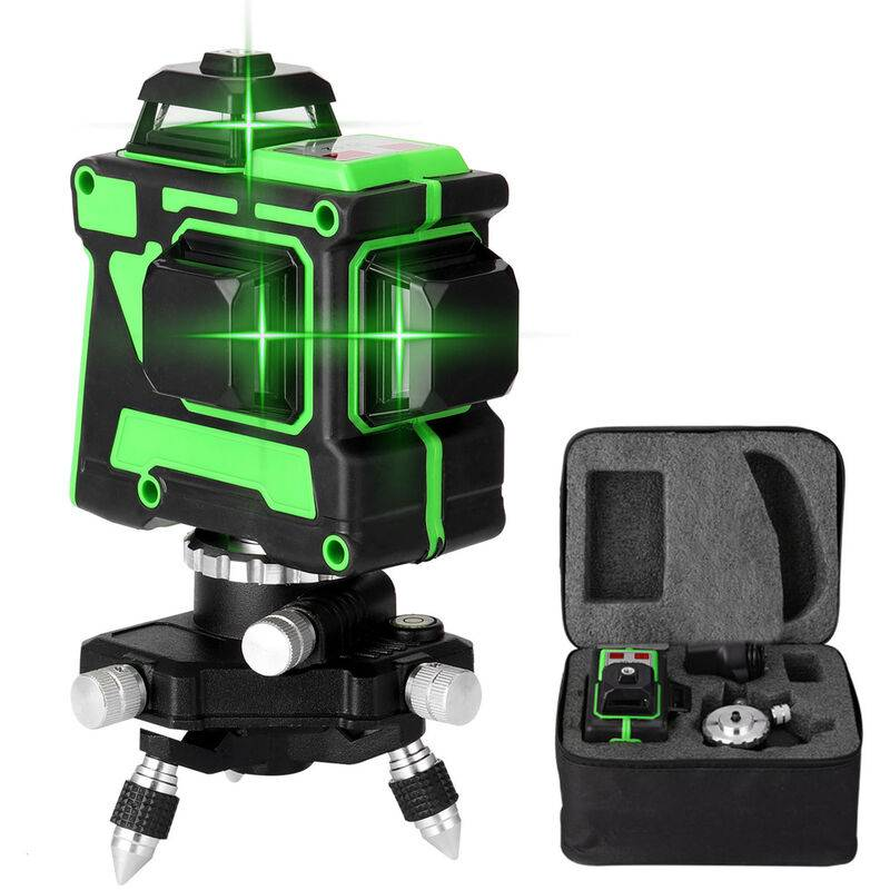 Kkmoon - Jeu de niveau laser 3D 12 lignes, niveau + support triangulaire + alimentation + mallette de transport + manuel, EU 220V