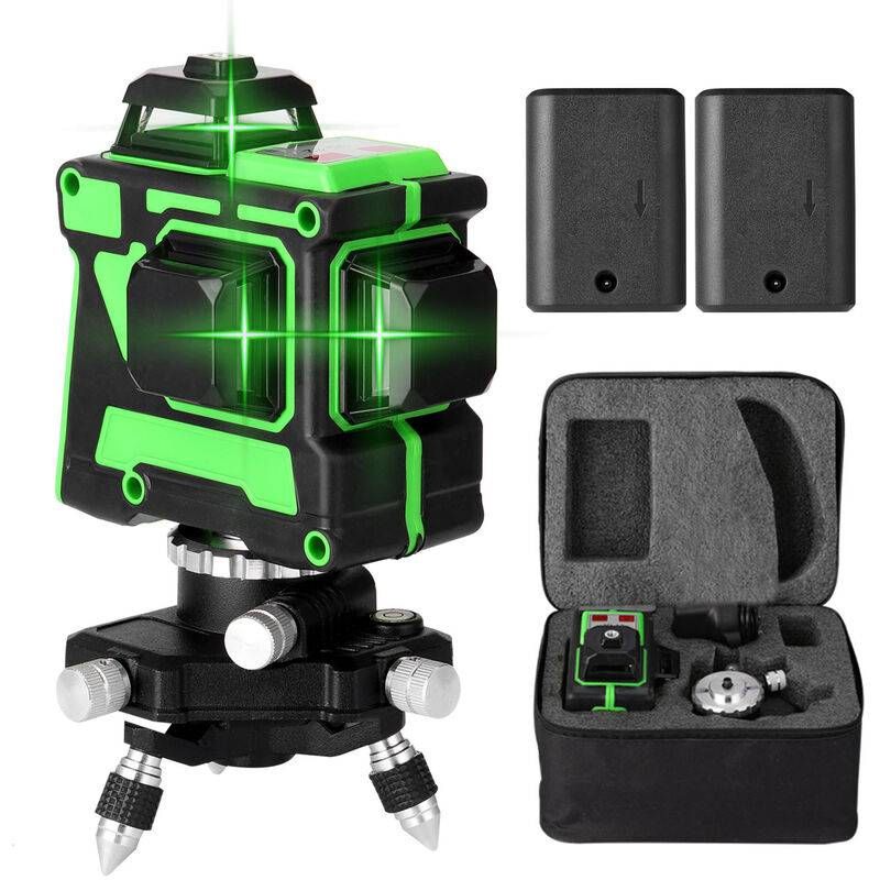 Kkmoon - Jeu de niveau laser 3D 12 lignes Norme europeenne 220V, niveau + support triangulaire + alimentation + mallette de transport + manuel, livre