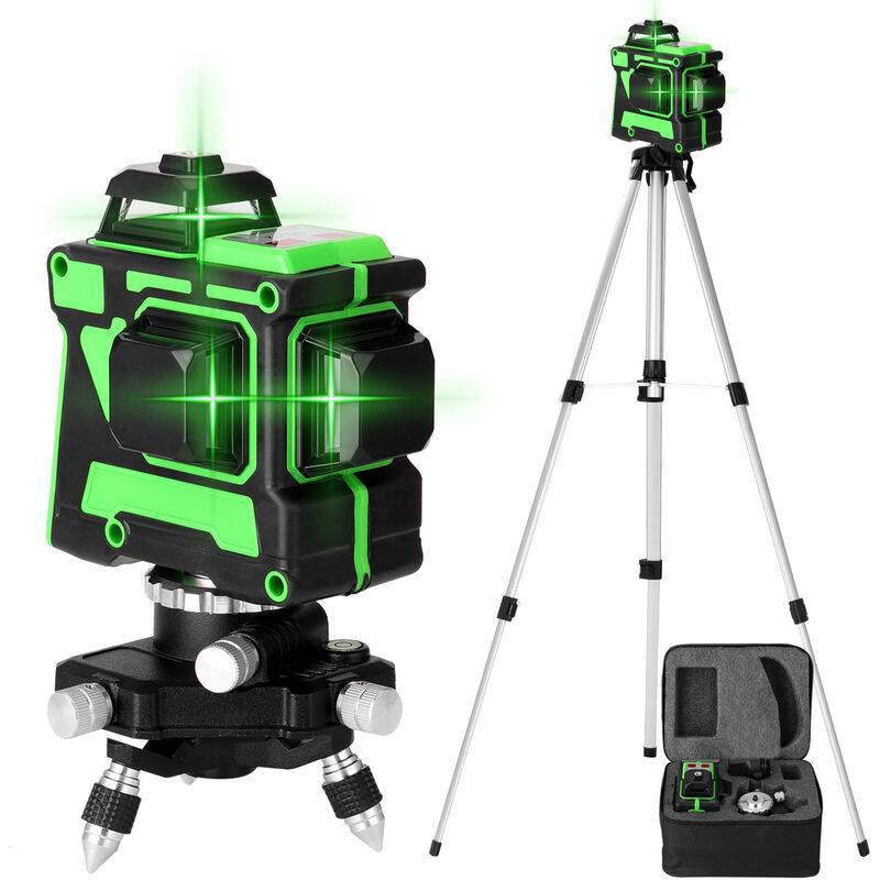 KKMOON Jeu de niveau laser KKmoon 3D 12 lignes, norme europeenne 220V, niveau + base rotative + support triangulaire + alimentation + mallette de transport
