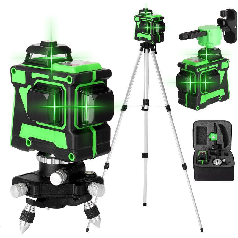 KKMOON Jeu de niveau laser KKmoon 3D 12 lignes, norme europeenne 220V, niveau + base rotative + support mural + trepied + alimentation + etui de transport,