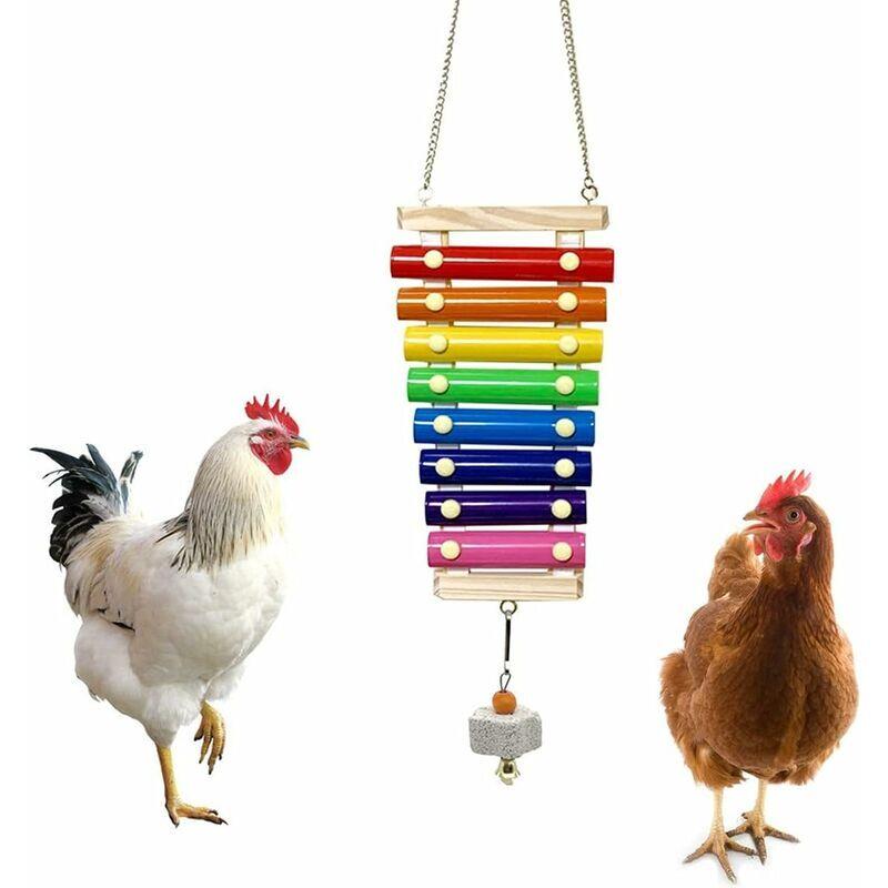 BETTERLIFE Jouet de xylophone de poulet pour poules suspensables bois xylophone jouet avec 8 clés en métal Couleur de poulet pecking jouet avec pierre de