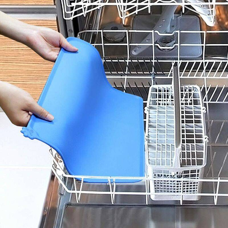 LITZEE Antidérapant Tapis d'Alimentation d'Animaux, Tapis Bol pour Chat et Chien, Imperméable,47×30cm, Bleu,1pc