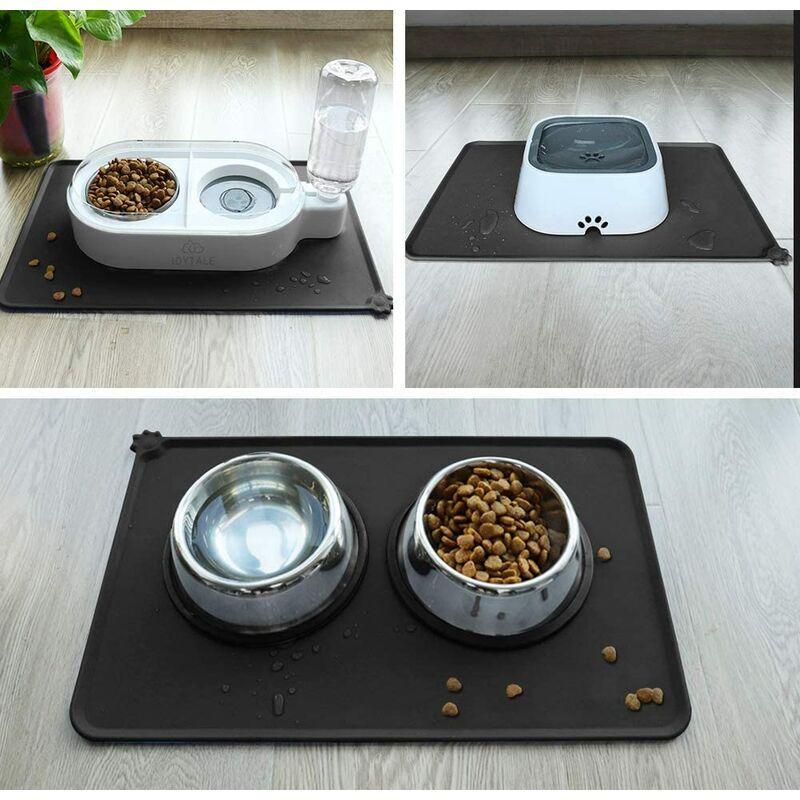 LITZEE Antidérapant Tapis d'Alimentation d'Animaux, Tapis Bol pour Chat et Chien, Imperméable,47 × 30cm,Noir ?1pc - Litzee