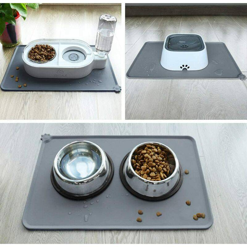 LITZEE Antidérapant Tapis d'Alimentation d'Animaux, Tapis Bol pour Chat et Chien, Imperméable,47×30cm, Gris, 1pc - Litzee