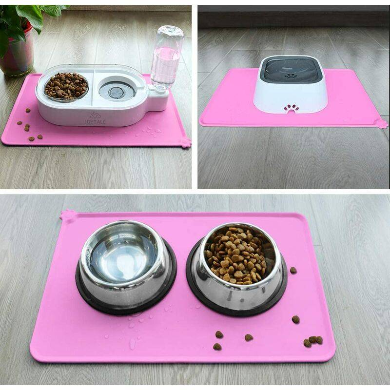 LITZEE Antidérapant Tapis d'Alimentation d'Animaux, Tapis Bol pour Chat et Chien, Imperméable,47×30cm,Rose,1pc - Litzee