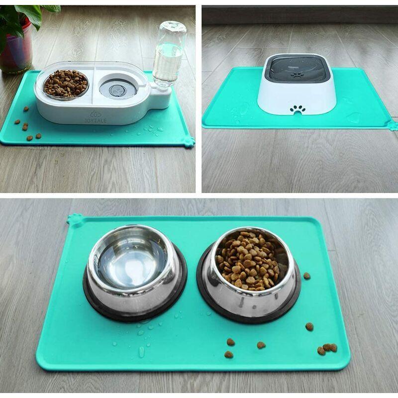 LITZEE Antidérapant Tapis d'Alimentation d'Animaux, Tapis Bol pour Chat et Chien, Imperméable,47 × 30cm,Turquoise,1pc - Litzee