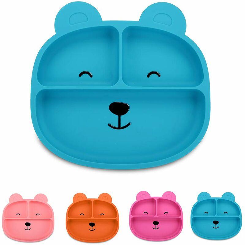 LITZEE Assiette en silicone, assiette à ventouse, assiette divisée, assiette pour tout-petits, sans BPA, passe au lave-vaisselle au micro-ondes, ours bleu