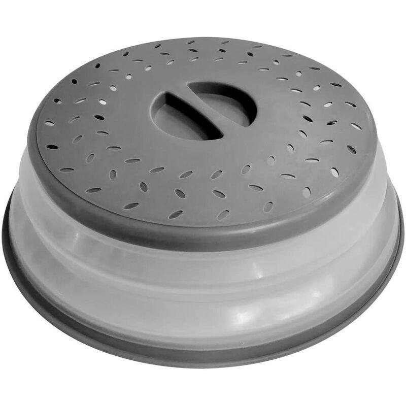 LITZEE Couvercle pour assiette à micro-ondes 10,5 pouces Couvercle de couvercle pour assiette alimentaire pliable - Sans BPA, prise facile, couvercle de