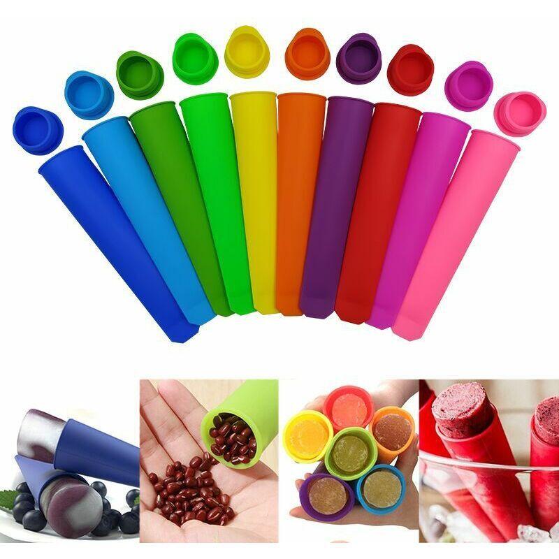 BETTERLIFE Lot de 10 Moules à Glace - Moule à Glace Moules Esquimaux Réutilisable Fabriqué à Partir de Silicone de Qualité Alimentaire - sans BPA - Idéal pour
