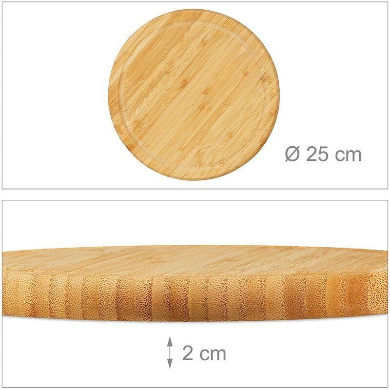 Helloshop26 - Lot de 4 planches petit-déjeuner bambou set 25 cm - Marron