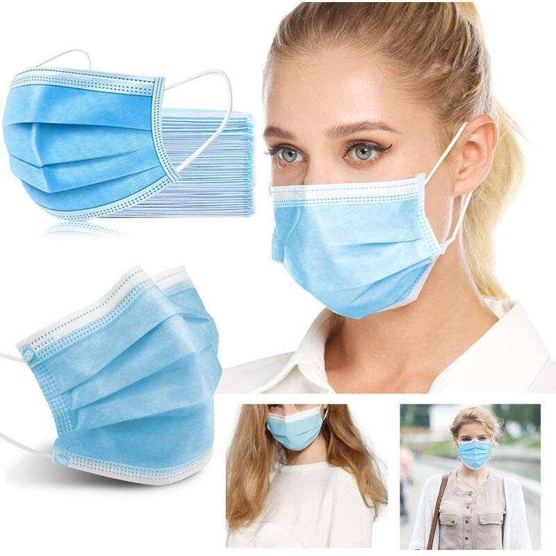 ILOVEMILAN Lot de 50 masques jetables avec boucle d'oreille élastique, boucle d'oreille 3 plis respirants non tissés pour la maison, le parc, le bureau - Bleu