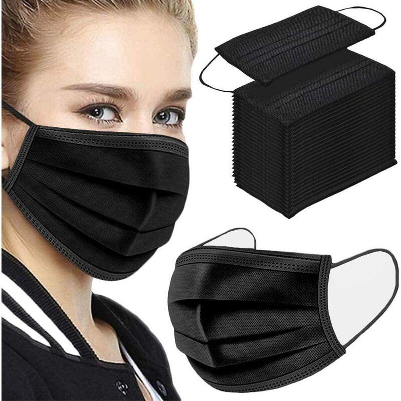 Ilovemilan - Lot de 50 masques jetables noirs pour le visage - Respirant - Élastiques pour les oreilles