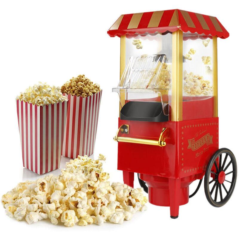 OOBEST Machine à Pop Corn, 1200W Retro Machine à Popcorn avec Air Chaud, Sans Gras Huile, Facile á L'utilisation, Rouge
