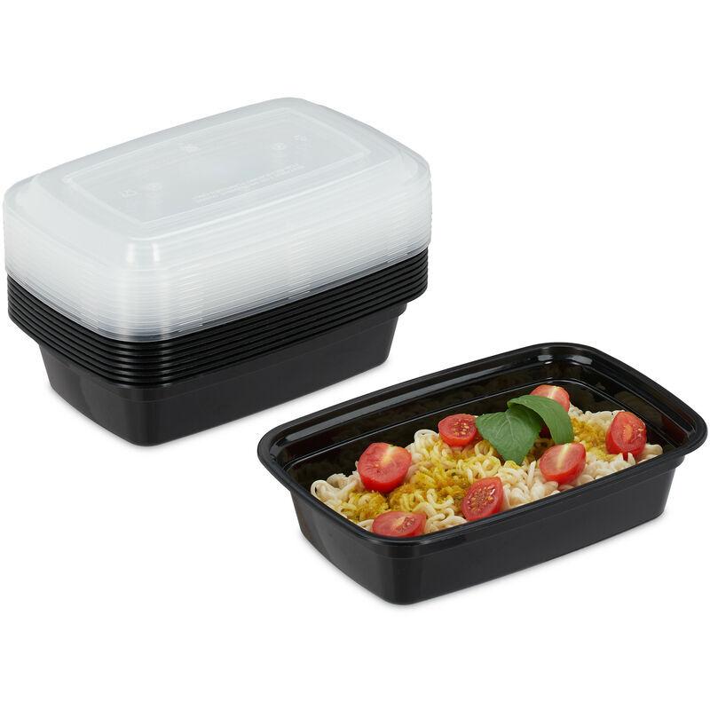 RELAXDAYS Meal prep containers, lot de 10, 1 compartiment, 1000 ml, micro-ondes, étanches, boîte repas, plastique, noir