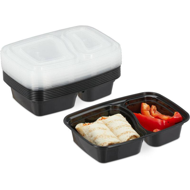 RELAXDAYS Meal prep containers, lot de 10, 2 compartiments, micro-ondes, 800 ml, boîte alimentaire avec couvercle, noir