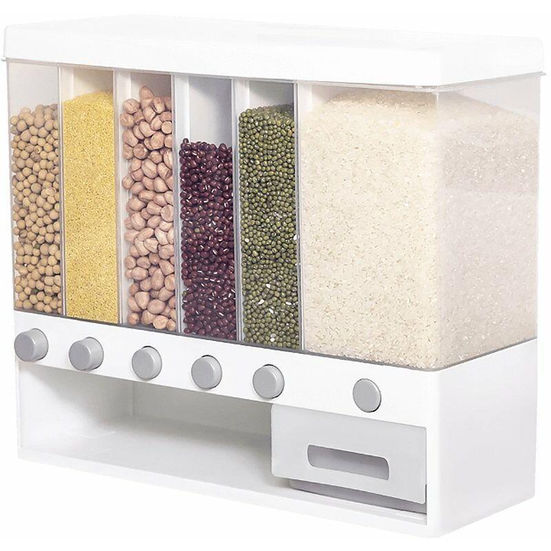 Happyshopping - MIWUNA Conteneur de stockage de riz 6 compartiments Grande boite de stockage de cereales pour aliments secs Distributeur de riz