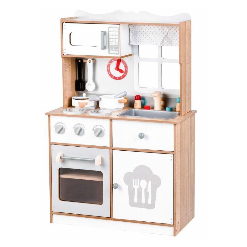 HUCOCO MSTORE - Mini cuisine en bois - 3 ans+ - Four+micro-ondes - Jouet pour enfants - Blanc