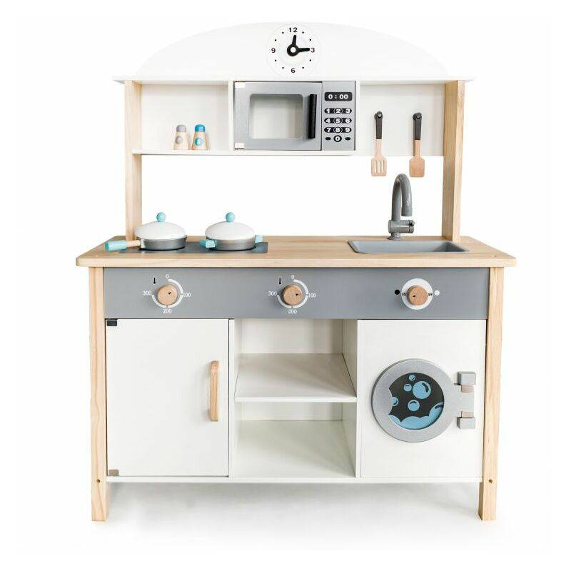 HUCOCO MSTORE - Mini cuisine en bois - 3 ans+ - Micro-ondes+lave-linge- Jouet pour enfants - Blanc