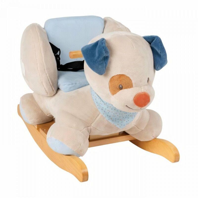 Nattou Bascule Jim le chien - Peluche 100% polyester, socle et poignées en bois - De 10 a 36 mois environ - Nattou