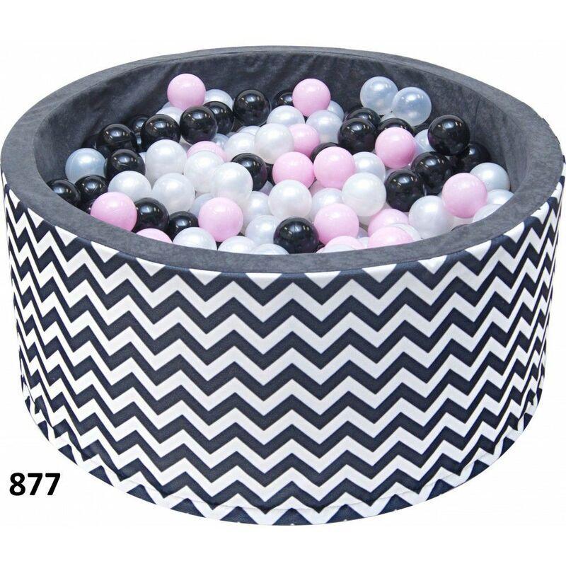 HUCOCO NOJE - Piscine ronde à balles bébé/enfant - À partir de 6 mois - 90x40 cm - Aire de jeu avec 200 balles - Piscine sensorielle - Noir