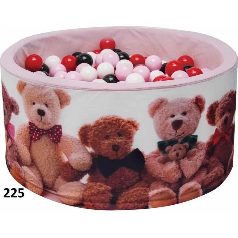 HUCOCO NOJE - Piscine ronde à balles bébé/enfant - Dès 6 mois - 90x40 cm - Aire de jeu avec 200 balles - Piscine sensorielle - Rose