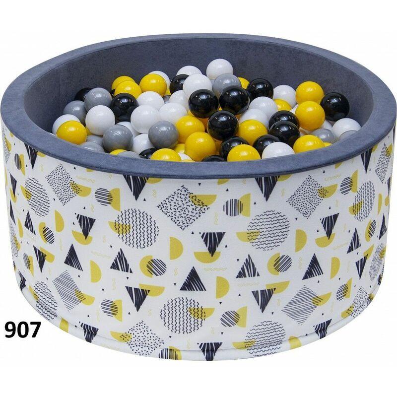 HUCOCO NOJE - Piscine ronde avec balles bébé enfant - Dès 6 mois - 90x40 cm - Aire de jeu avec 200 balles - Piscine sensorielle - Gris