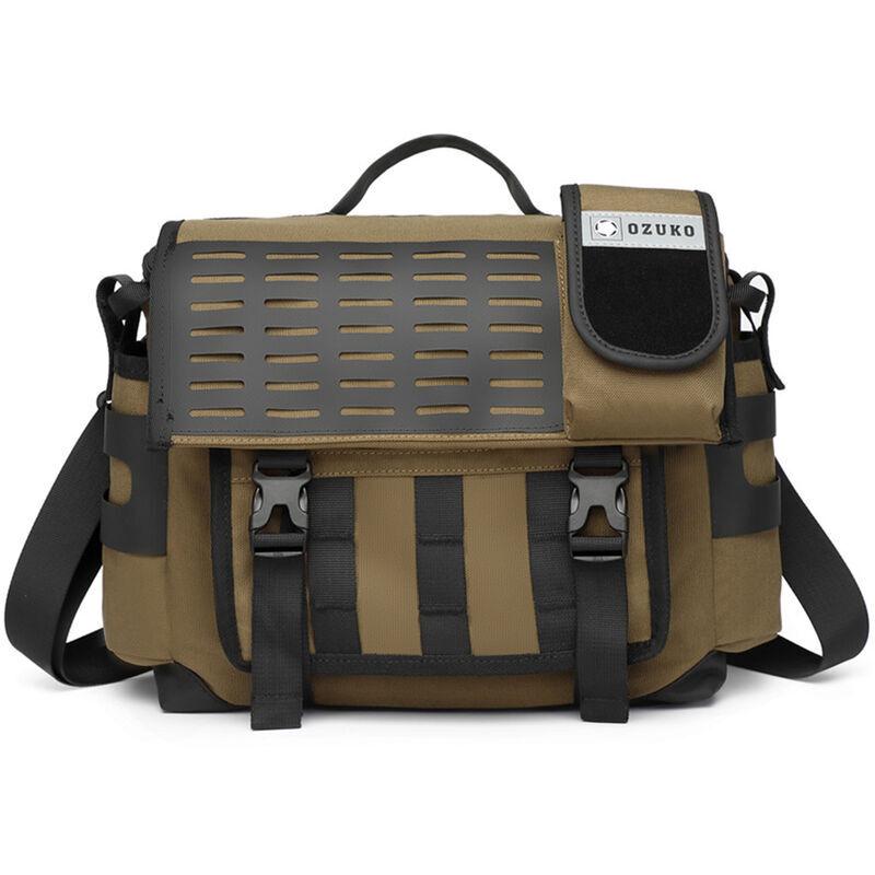 Ozuko Business Casual Messenger Bag Sac A Bandouliere Unique Sac A Bandouliere Pour Hommes Multicouche Space Tissu Impermeable, Chameau
