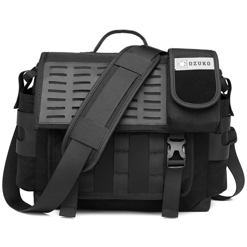 Ozuko Business Casual Messenger Bag Sac A Bandouliere Unique Sac A Bandouliere Pour Hommes Multi-Layer Space Tissu Impermeable,Noir