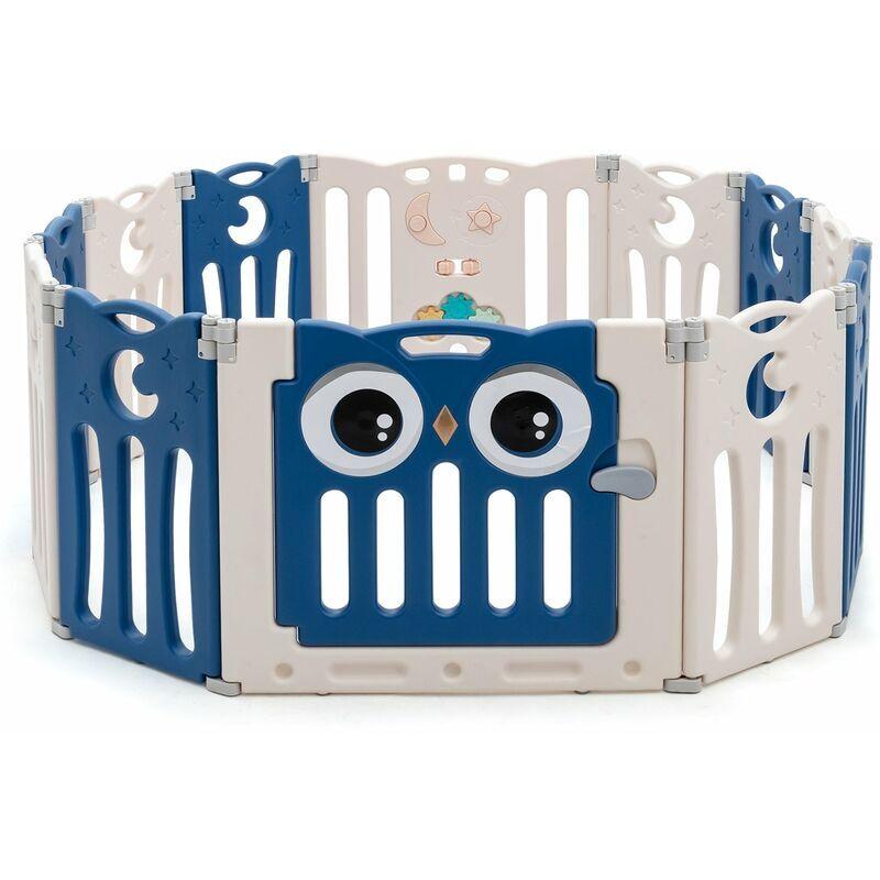 DéCOSHOP26 Parc bébé en plastique 12 éléments pliable motif d'hibou en hdpe sans bpa porte avec verrou de sécurité beige et bleu - Beige