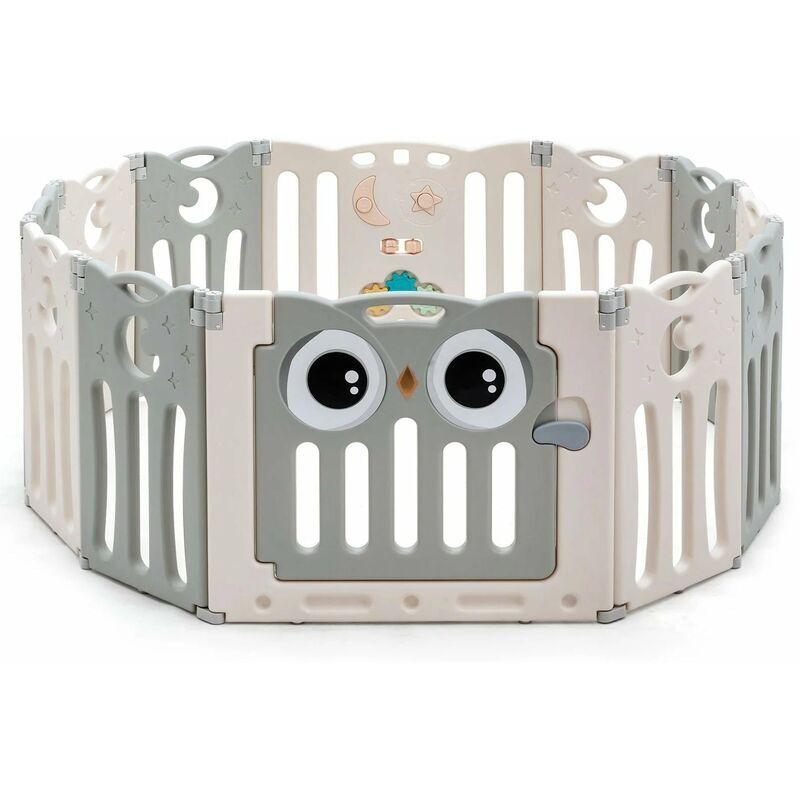 DéCOSHOP26 Parc bébé en plastique 12 éléments pliable motif d'hibou en hdpe sans bpa porte avec verrou de sécurité beige et gris - Beige
