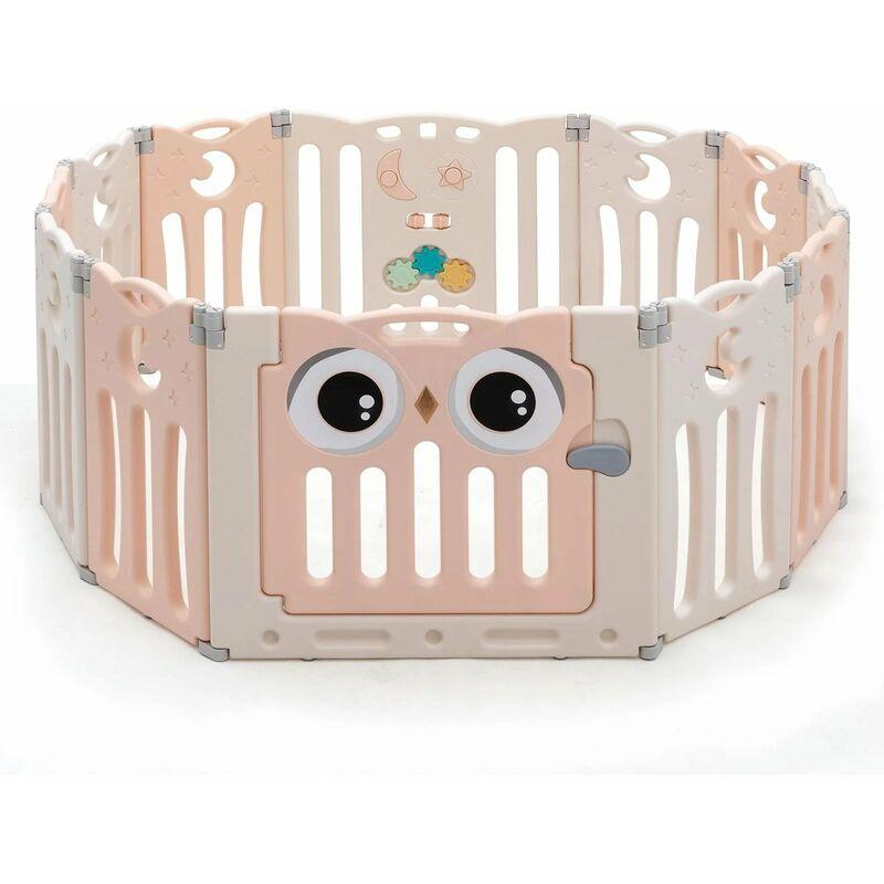 DéCOSHOP26 Parc bébé en plastique 12 éléments pliable motif d'hibou en hdpe sans bpa porte avec verrou de sécurité beige et rose - Beige