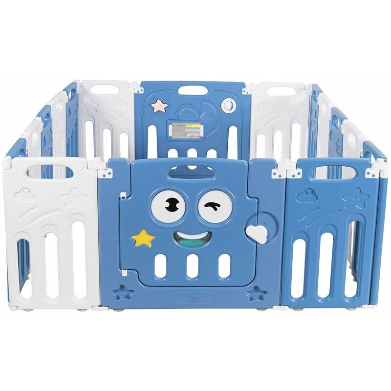 DéCOSHOP26 Parc bébé en plastique 16 éléments pliable en hdpe sans bpa avec verrou de sécurité jouets éducatifs - noir