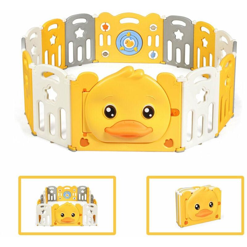 DéCOSHOP26 Parc bébé en plastique pliable 14 pièces 80 x 39 5 x 67 5cm barrière d'enfant en hdpe sans bpa - noir