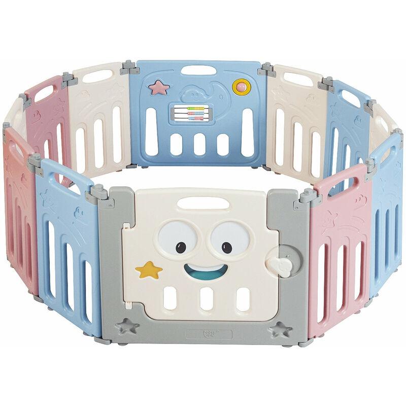 DéCOSHOP26 Parc à bébé et enfant 12 éléments pliable en plastique hdpe et sans bpa barrière sécurité - noir