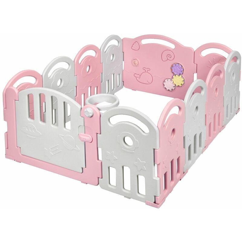 DéCOSHOP26 Parc bébé pliable en hdpe 12 panneaux avec porte et boîte à musique pour enfants de 6 à 36 mois rose - or