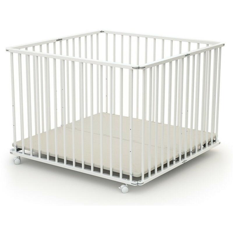 LES TENDANCES Parc bébé pliant et réglable 100x100 cm hêtre massif blanc Webaby
