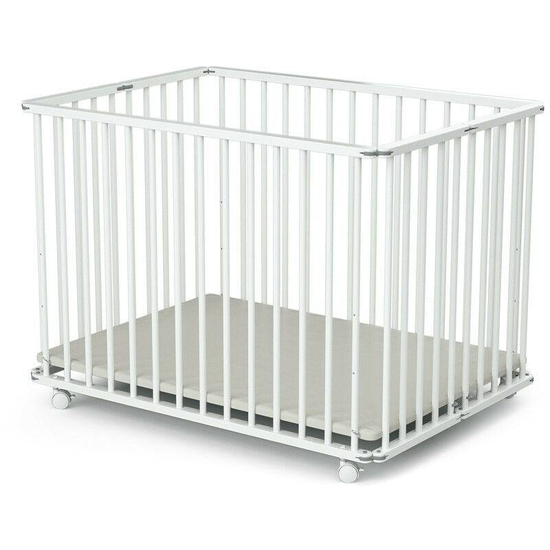 LES TENDANCES Parc bébé pliant et réglable 70x100 cm hêtre massif blanc Webaby