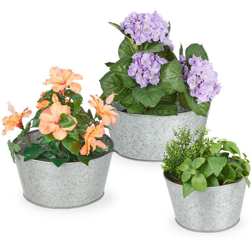 RELAXDAYS Pots en zinc, set de 3, seau plat à fleurs, style rustique, jardinières rondes de différentes tailles, argenté