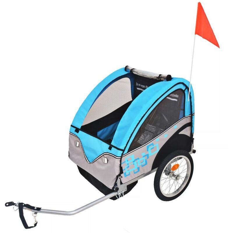 Happyshopping - Remorque de velo pour enfants Gris et bleu 30 kg