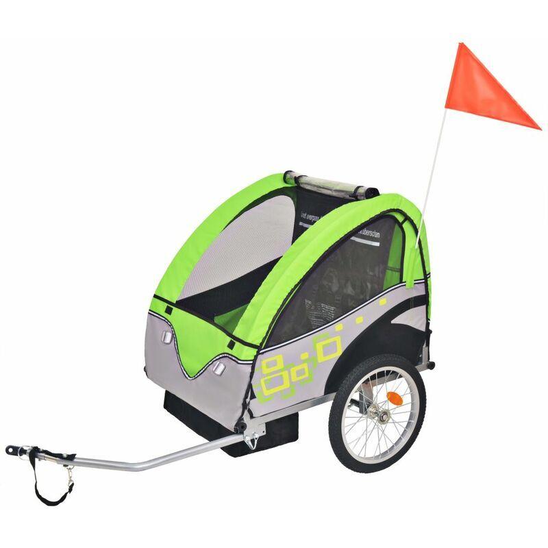 Happyshopping - Remorque de velo pour enfants Gris et vert 30 kg