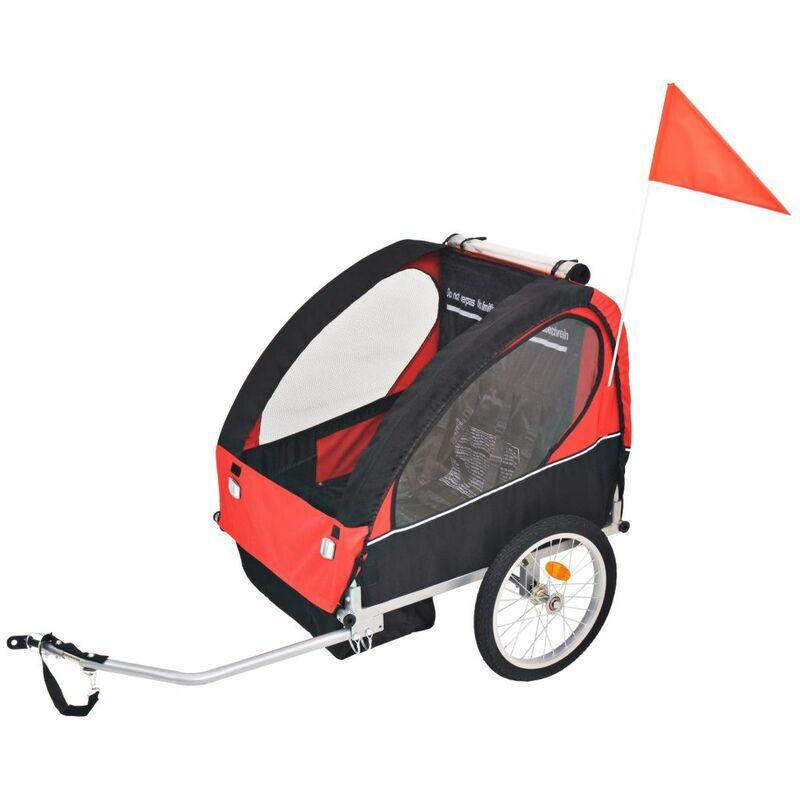 Happyshopping - Remorque de velo pour enfants rouge et noire 30 kg