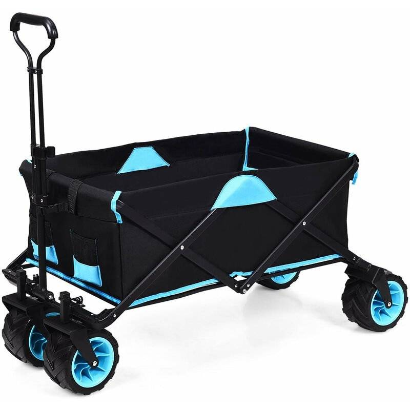 HELLOSHOP26 Remorque à main pliable à 4 roues bleu+noir en tissu oxford charge 50 kg avec sac d'isolation thermique poignée rotative - Bleu